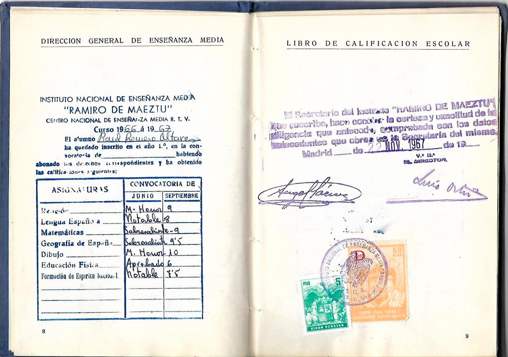 Calificaciones esclorales Raúl Romero